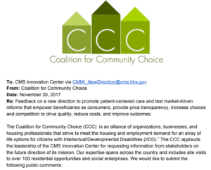 CCC Offers Public Comment to CMS Innovation Center